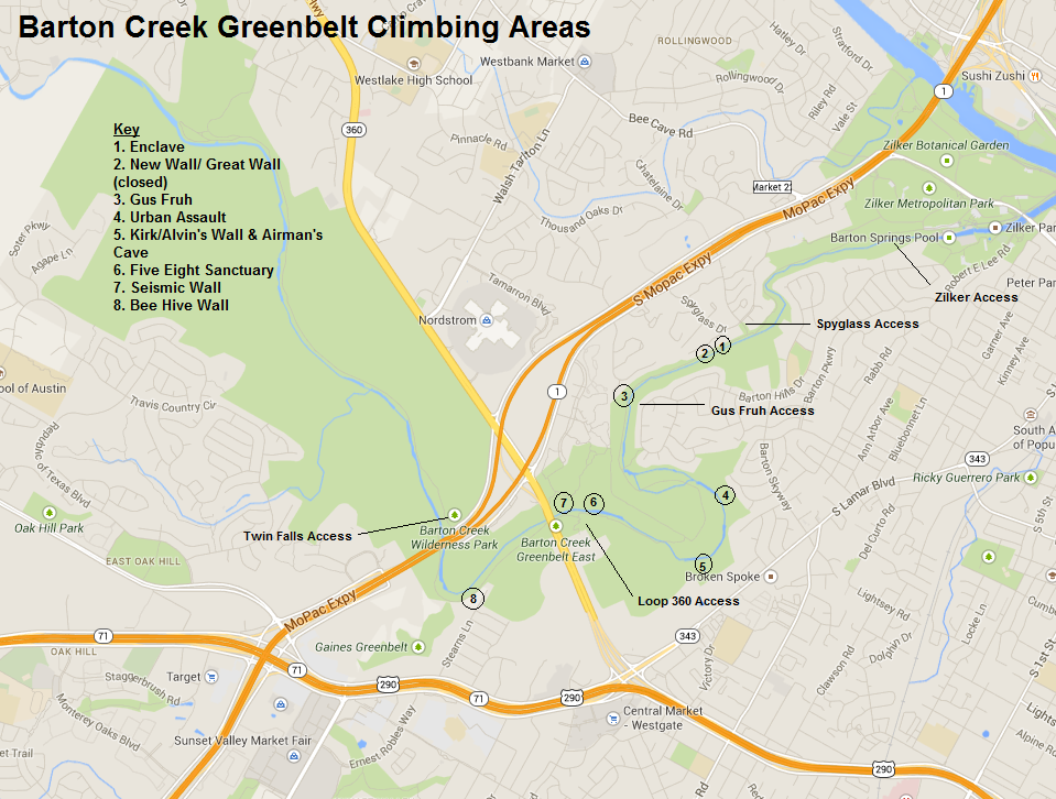 climbing areas central texas mountaineers